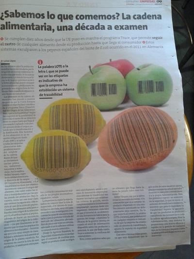 EV Consultoria Alimentaria - Artículo en La Voz de Galicia el 12-04-15