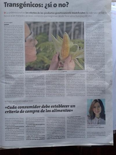 EV Consultoria Alimentaria - Artículo en La Voz de Galicia el 08-02-15